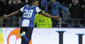 FC Porto's Kelvin Oliveira from Brazil celebrates after scoring his t